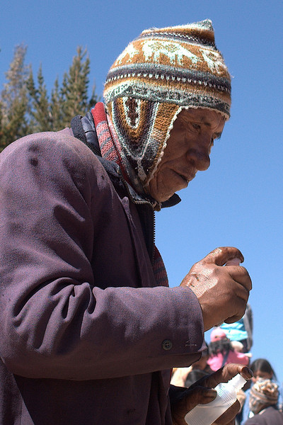 Shaman concentrating on his prayers.