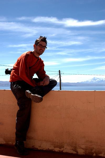 Yann on our hotel balcony