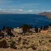 Overlooking the village and lake Titicaca.