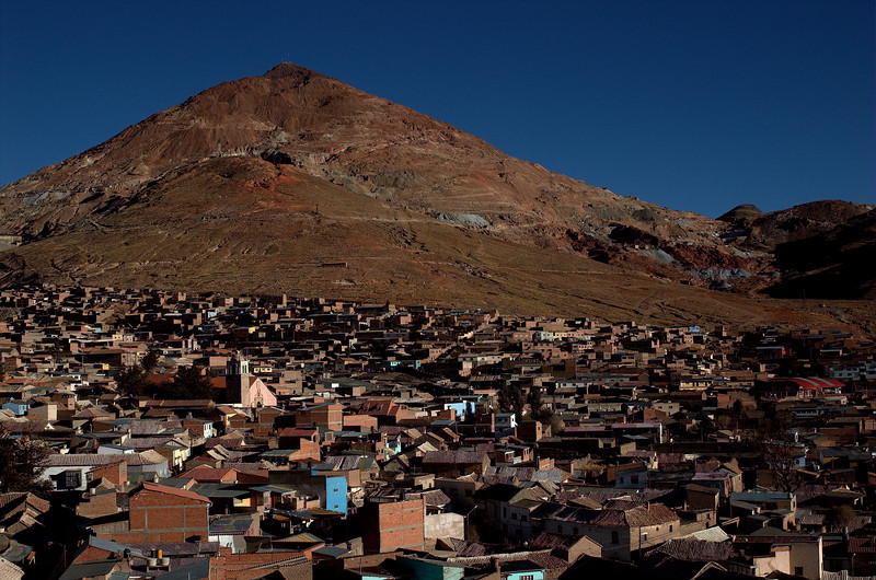 Cerro Rico overlooking Potosi, the miners' quarter is closer to the mountain.