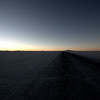 Sunset over the tracks on the salar.