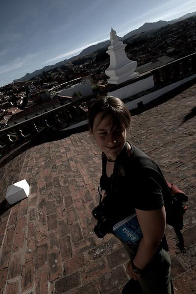Emilie on the roof of the Convento de San Felipe Neri.