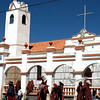 Church in Tarabuco's central plaza.