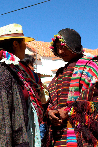 Chatting in the central plaza