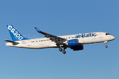 Bombardier CS300 with airBaltic titles for route proving