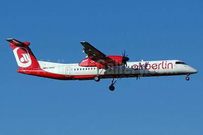 Airberlin (airberlin.com) (LGW) Bombardier DHC-8-402 (Q400) D-ABQH (msn 4256) ZRH (Paul Bannwarth). Image: 913287.