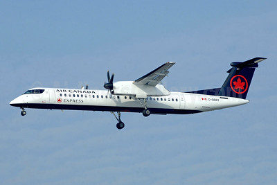 The first Air Canada Express Bombardier Q400 in the new livery