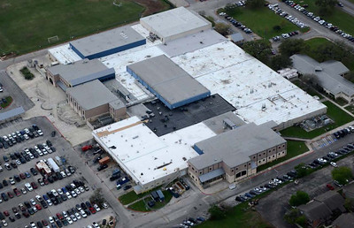 Aerial view of NBHS during renovations on April 17, 2017.