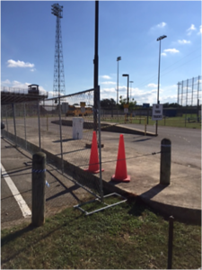 Construction fencing installed at site in November 2016