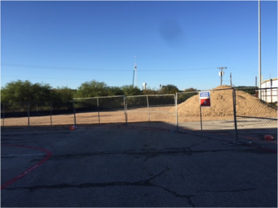 Staging area for recycled materials for stadium use in December 2016