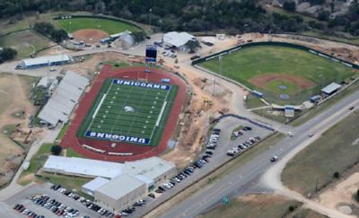 Aerial of Unicorn Stadium and fields in February 2017.