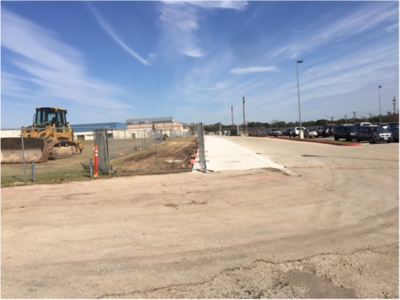 Sidewalk at soccer field complete in January 2017.