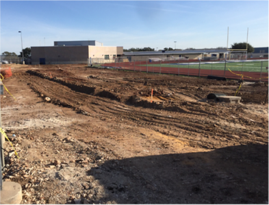 Visitor Side – Storm Water Piping Installation in February 2017.