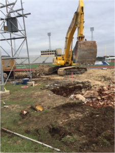 Excavation for new concession building in December 2016