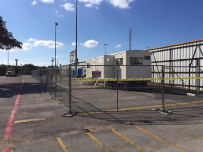 Construction trailer arrives on site in November 2016