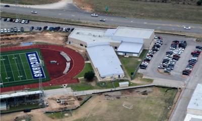 Aerial of Unicorn Stadium Field House in February 2017.
