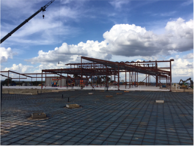 Cafeteria and gym steel work at Veramendi Elementary in October 2016.
