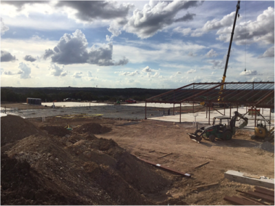Completed concrete pour of administrative wing of Veramendi Elementary in October 2016.