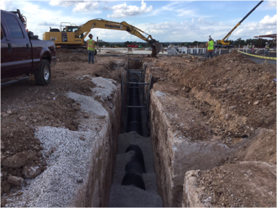 Storm sewer work at Veramendi Elementary in October 2016.