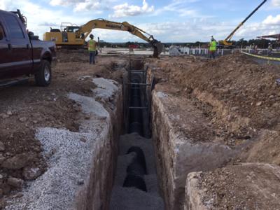 Storm sewer work at Veramendi Elementary in October 2016.