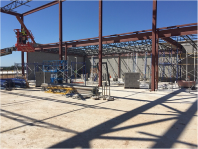 Cafeteria steel and masonry work at Veramendi Elementary in October 2016.