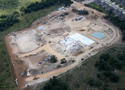 Aerial of construction of Veramendi Elementary in October 2016.