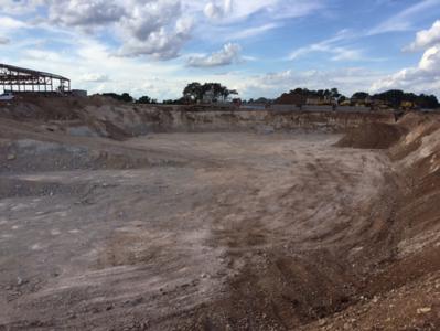 Detention pond excavation at Veramendi Elementary in October 2016.