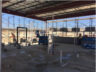 Kitchen masonry and steel at Voss Farms in October 2016.