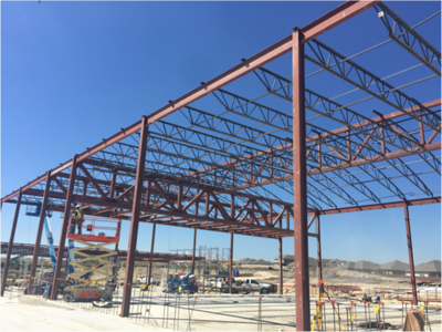 Gym steel work at Voss Farms in October 2016.