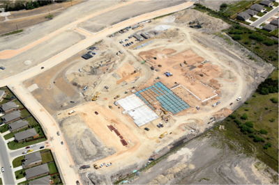 Aerial of Voss Farms Elementary during construction in October 2016.