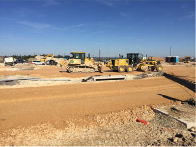 Parking lot base work at Voss Farms in October 2016.
