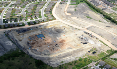 Aerial of Voss Farms Elementary during construction in September 2016.