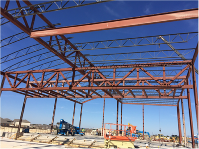Cafeteria steel work at Voss Farms in October 2016.