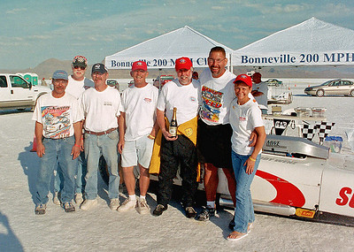 Team Photo after Ted's induction into the Bonneville 200 MPH Club.  8/15/2005