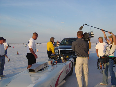 8/15/05 7:18AM Film crew from National Geographic shooting Ted's speed record attempt. Tonya Turk Photo
