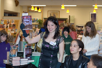Author Justina holding THE BEAST OF NOOR.   ... (c) photo by Heidi Pettit