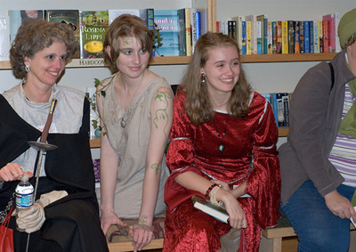 Author Lorie Ann Grover & Princesses wait for the answer.   ... (c) photo by Heidi Pettit