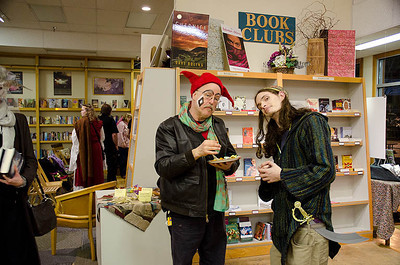 Huntsman & Fool obviously thinking...  Dragonswood Booklaunch, Author Janet Lee Carey, photo credit - Heidi Pettit