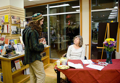 Huntsman & Town Greeter confer...  Dragonswood Booklaunch, Author Janet Lee Carey, photo credit - Heidi Pettit