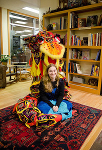 Tess and Dragon share a bond (sic). (Tess also known as Sarah Bond) ...  Dragonswood Booklaunch, Author Janet Lee Carey, photo credit - Heidi Pettit