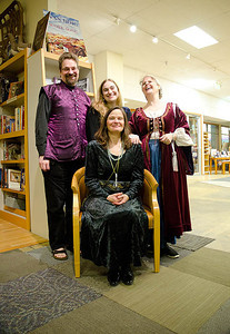 Courtier, Tess, Lady Adela & Author Janet Lee Carey (on her throne)...  Dragonswood Booklaunch, Author Janet Lee Carey, photo credit - Heidi Pettit