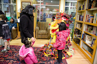 Children and Dragon...  Dragonswood Booklaunch, Author Janet Lee Carey, photo credit - Heidi Pettit
