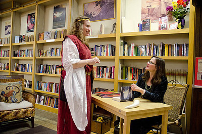 Fey Maiden requests 'Will Author Carey sign her book' ...  Dragonswood Booklaunch, Author Janet Lee Carey, photo credit - Heidi Pettit