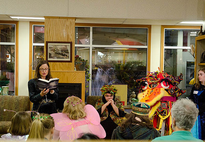 Author Janet reads from chapter of Dragonswood...  Dragonswood Booklaunch, Author Janet Lee Carey, photo credit - Heidi Pettit