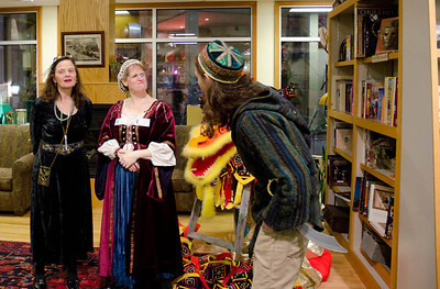 Lady Adela inspects The Huntsman...  Dragonswood Booklaunch, Author Janet Lee Carey, photo credit - Heidi Pettit