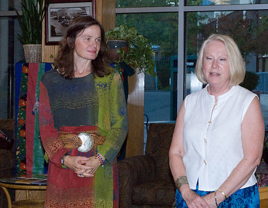 Co-owner of Parkplace Book's, Mary, introduces Author Janet Lee Carey...  (c) photo by Heidi Pettit