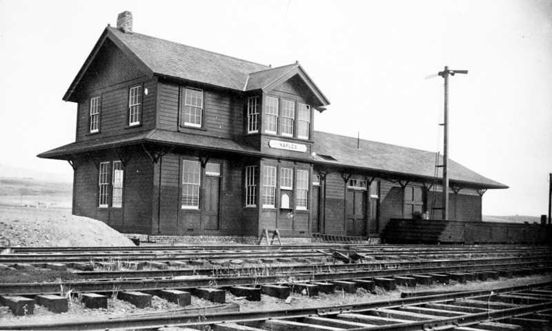 This early photo of Naples Depot was taken before the newly laid Coast Line track had been ballasted.