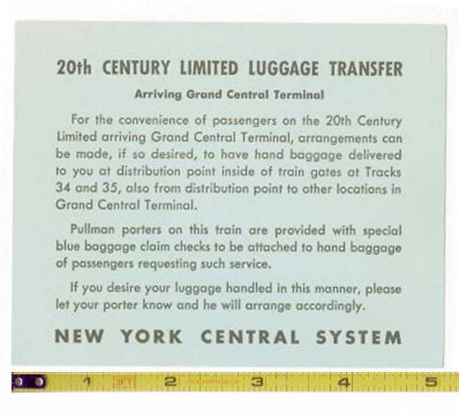 20th Century Limited Luggage Transfer card