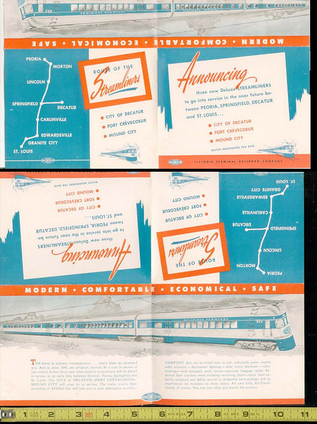 Illinois Terminal RR Deluxe Streamliners 1946 brochure  One-sided advertising flyer for new streamlined service between Peoria, Springfield, Decatur and St. Louis. Very nice rendition of the streamliners.<br>Half of the image has been reversed, it normally appears top edge to top edge. <BR>Among the last of the electric Interurban/trolley systems.
