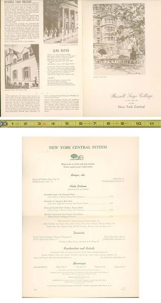 NYC  russel sage 5-52 Menu<br /> <br /> New York Central 1952 Dinner Russel Sage College menu